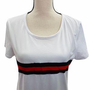 Discreet Striped Side Slit T-Shirt Sz L
